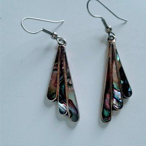 mexico silver abalone butterfly wing earrings